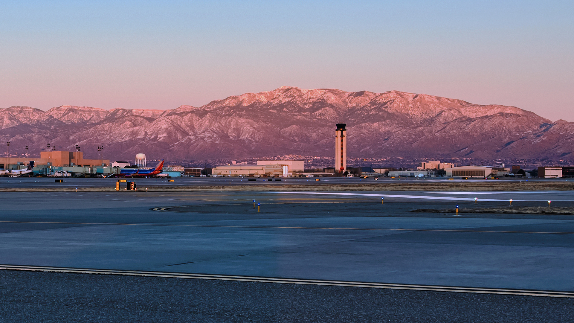 ABQ Sunport - From Airfield - Panorama - Sunset